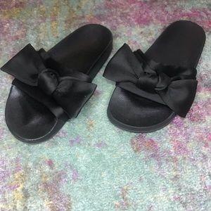 Black Bow Sandal Slide
